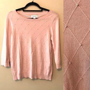 Elle Pink Pearl Diamond Knit Women's Sweater Sz S